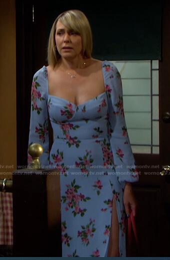 Nicole's blue floral long sleeve dress on Days of our Lives