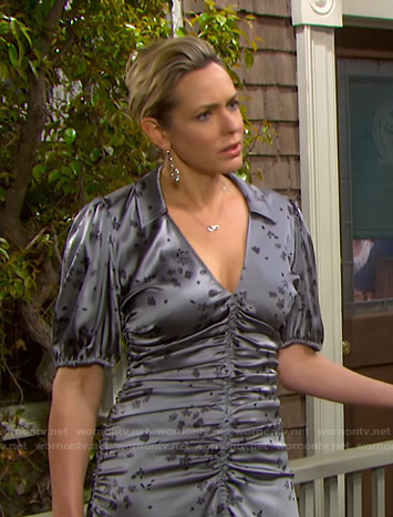 Nicole's grey floral ruched dress on Days of our Lives