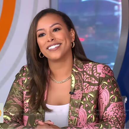 Nicole Lynn's pink printed blazer on Good Morning America