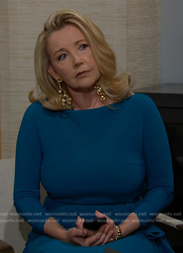 Nikki's blue side ruffle dress on The Young and the Restless