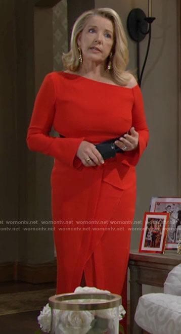 Nikki's red asymmetric shoulder dress on The Young and the Restless