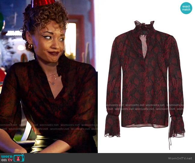 Nili Lotan Demi ruffle-trimmed snake-print silk-chiffon blouse  worn by Astra Logue (Olivia Swann) on Legends of Tomorrow