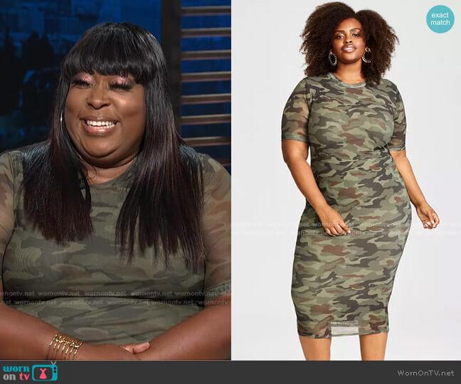 Trendy Plus Size Mesh Midi Dress by Nina Parker worn by Loni Love  on E! News