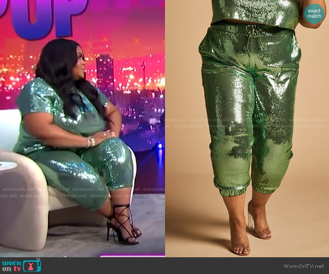 Trendy Plus Size Sequin Joggers by Nina Parker worn by Nina Parker  on E! News