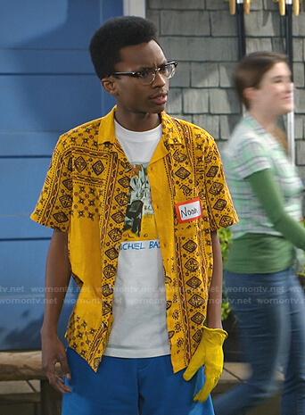 Noah's yellow printed short sleeve shirt on Bunkd