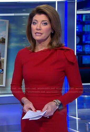 Norah's red gathered shoulder dress on CBS Evening News