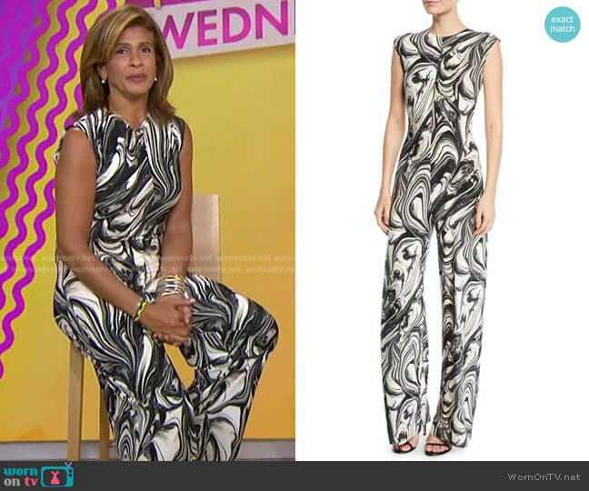 Swirl-Print Sleeveless Jumpsuit by Norma Kamali worn by Hoda Kotb  on Today