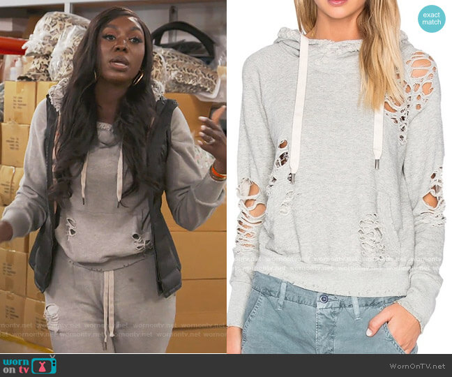 Distressed Lisse Hoodie by NSF worn by Wendy Osefo  on The Real Housewives of Potomac