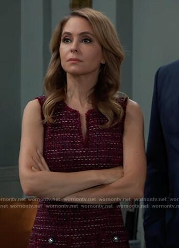 Olivia's red sleeveless tweed dress on General Hospital