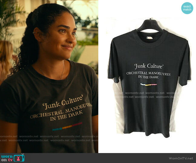 Vintage Junk Culture Orchestral Manoeuvres in the Dark T-shirt worn by Paula (Brittany O'Grady) on The White Lotus