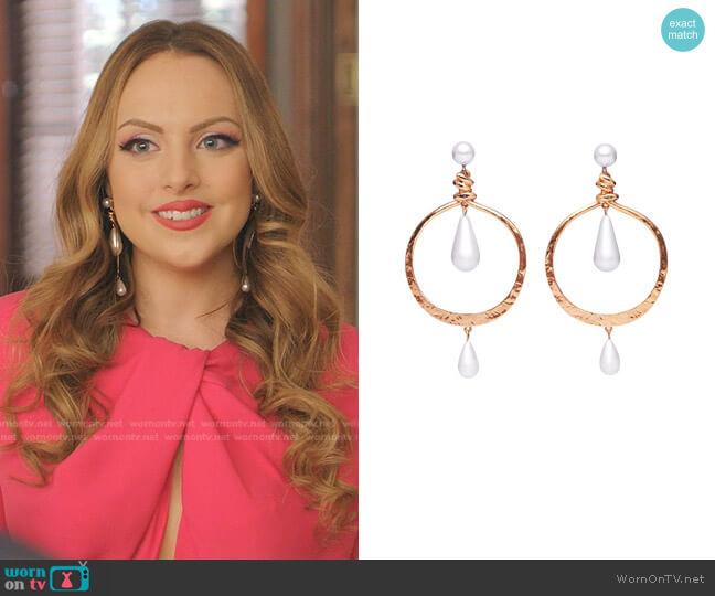 Pearl Hoop Earrings by Oscar de la Renta worn by Fallon Carrington (Elizabeth Gillies) on Dynasty