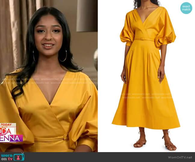 Puff-Sleeve Belted Midi Dress by Oscar de la Renta worn by Maitreyi Ramakrishnan on Today
