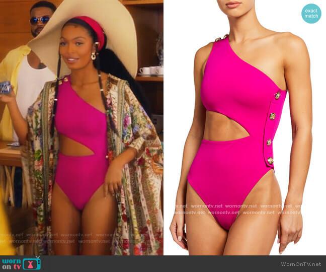 Rhea One-Shoulder Asymmetric Cutout One-Piece Swimsuit by OYE Swimwear worn by Zoey Johnson (Yara Shahidi) on Grown-ish