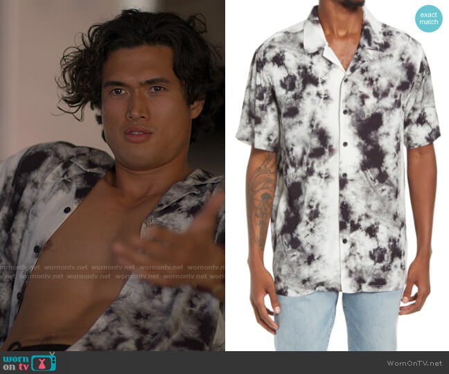 PacSun Levey White Crystal Short Sleeve Button-Up Camp Shirt worn by Wyatt (Charles Melton) on American Horror Stories