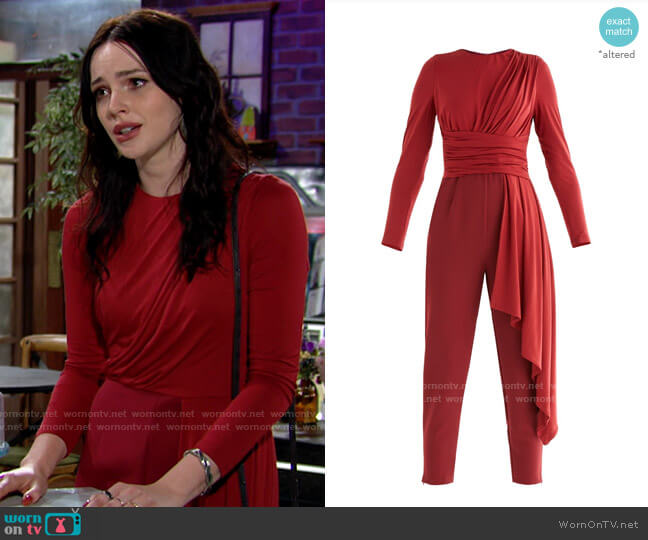 Paisie Draped Jumpsuit worn by Tessa Porter (Cait Fairbanks) on The Young & the Restless