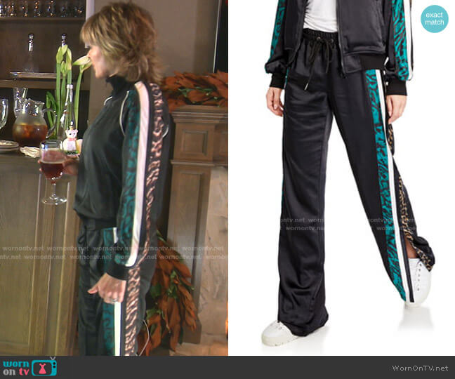 Silky Side-Slit Track Pants by Pam & Gela worn by Lisa Rinna  on The Real Housewives of Beverly Hills