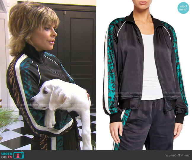 Silky Side-Stripe Track Jacket by Pam & Gela worn by Lisa Rinna  on The Real Housewives of Beverly Hills