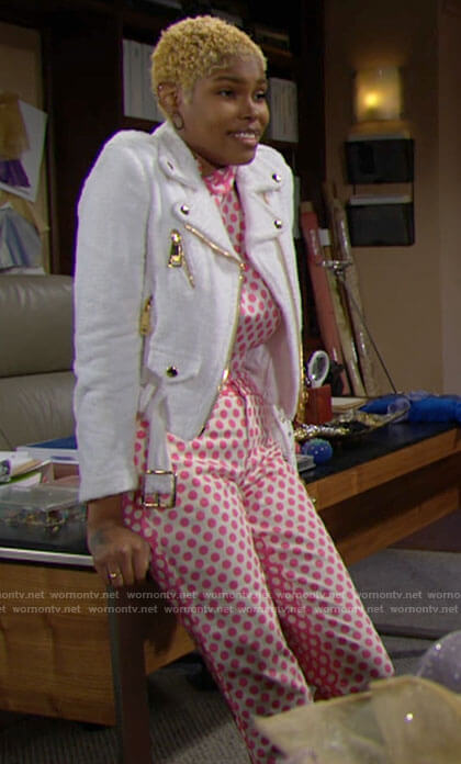 Paris's pink polka dot top and pants and white biker jacket on The Bold and the Beautiful