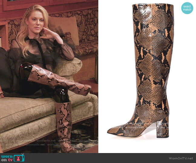 Python Print High Boot in Camel by Paris Texas worn by Leah McSweeney  on The Real Housewives of New York City