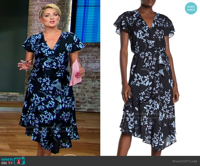 Parker Cascading Ruffle Printed Midi Dress worn by Jamie Yuccas  on CBS Mornings