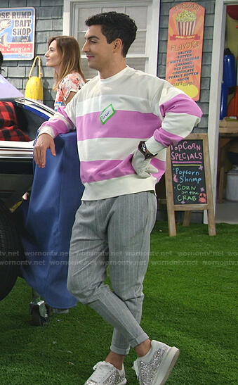 Parker's sweatshirt and grey pinstripe pants on Bunkd
