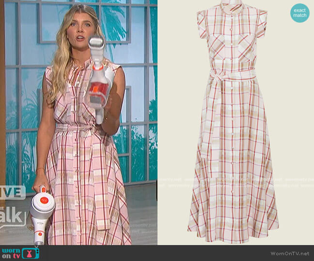 Plaid Crepe Belted Midi Dress by Pearl by Lela Rose worn by Amanda Kloots  on The Talk