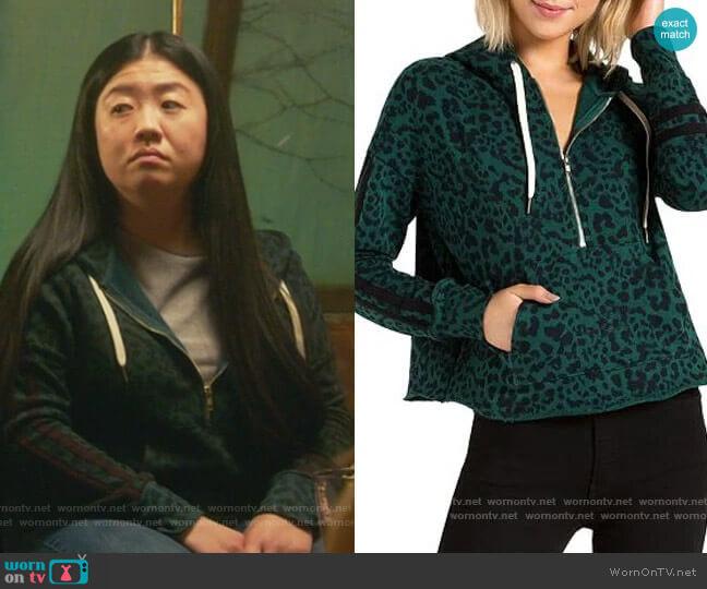 Hickory Jaguar-Print Half-Zip Hooded Sweatshirt by n:philanthropy worn by Alice Kwan (Sherry Cola) on Good Trouble