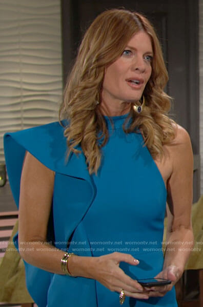 Phyllis's turquoise side ruffle dress on The Young and the Restless