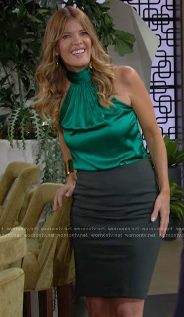 Phyllis's green satin halter top on The Young and the Restless