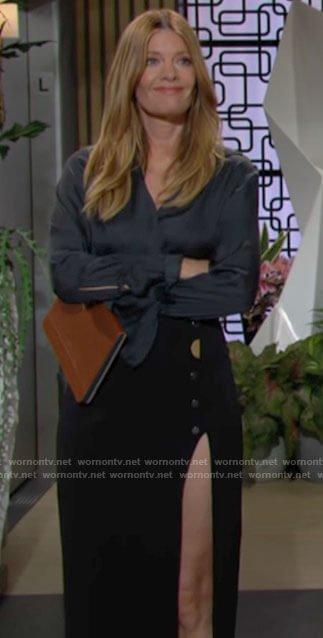 Phyllis's navy blouse and high slit skirt on The Young and the Restless
