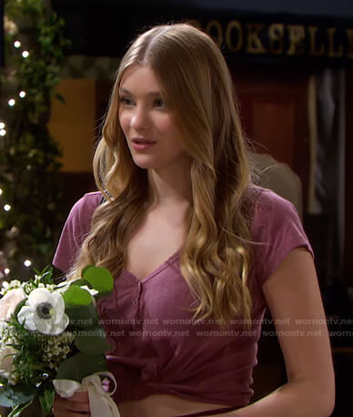 Allie's pink short sleeve henley top on Days of our Lives