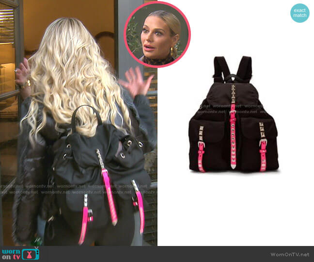 Vela Studded Nylon Backpack by Prada worn by Dorit Kemsley  on The Real Housewives of Beverly Hills