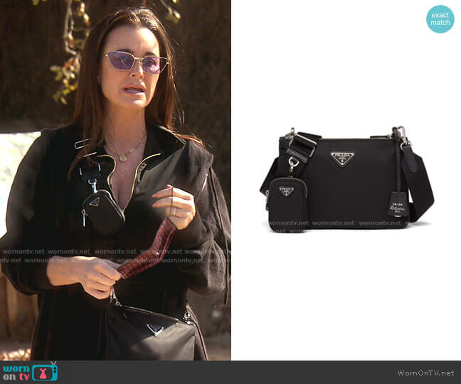 Re-Edition 2000 Re-Nylon Shoulder Bag by Prada worn by Kyle Richards  on The Real Housewives of Beverly Hills