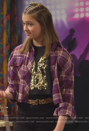 Presley's purple plaid cropped shirt on Side Hustle