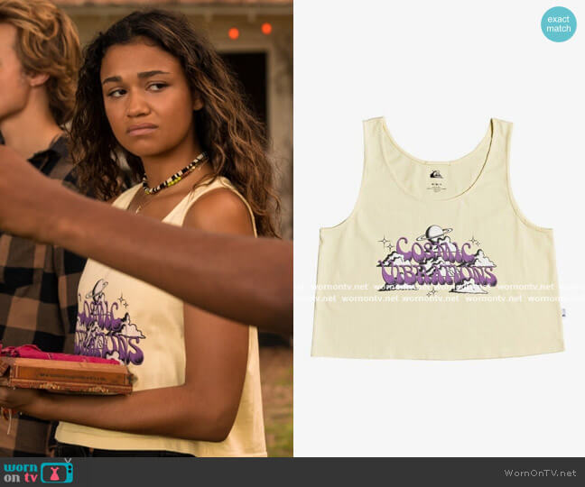 Quiksilver Cropped Boxy Tank Top worn by Kiara Carrera (Madison Bailey) on Outer Banks