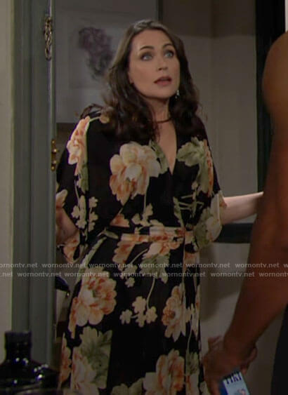 Quinn's floral maxi wrap dress on The Bold and the Beautiful