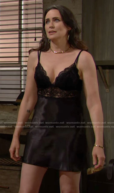 Quinn's black lace and satin chemise on The Bold and the Beautiful