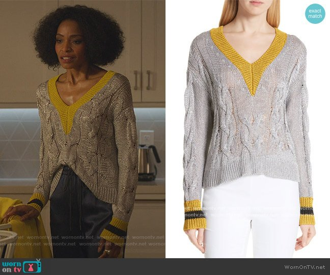 Emma Cable Knit Sweater by Rag and Bone worn by Sasha Snow (Margaret Odette) on Sex/Life