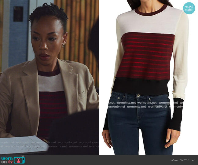 Marissa Contrast Stripe Sweater by Rag & Bone worn by Charmaine Bingwa on The Good Fight