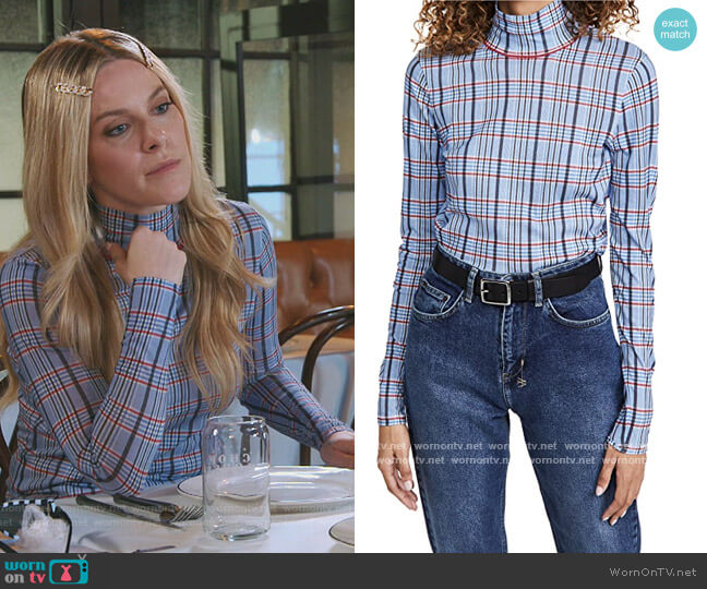 Plaid Shaw Turtleneck by Rag and Bone worn by Leah McSweeney  on The Real Housewives of New York City