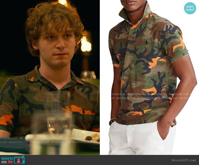 Polo Ralph Lauren Custom Slim-Fit Basic Mesh Camo Polo worn by Quinn Mossbacher (Fred Hechinger) on The White Lotus
