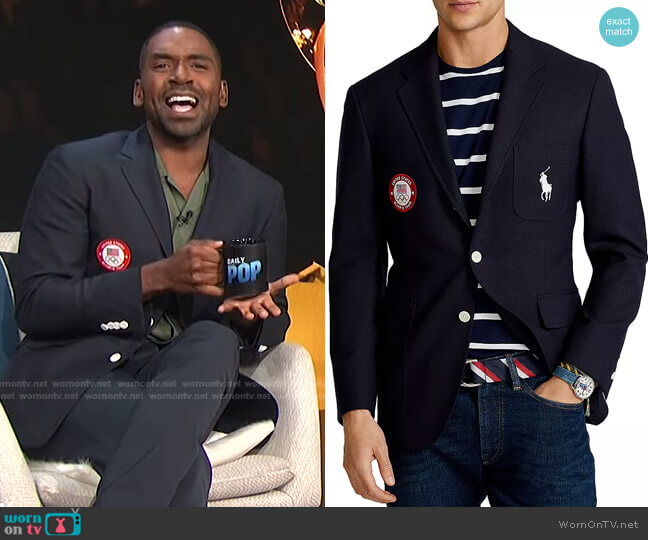 Team USA Opening Ceremony Slim Fit Blazer by Ralph Lauren x Team USA worn by Justin Sylvester  on E! News