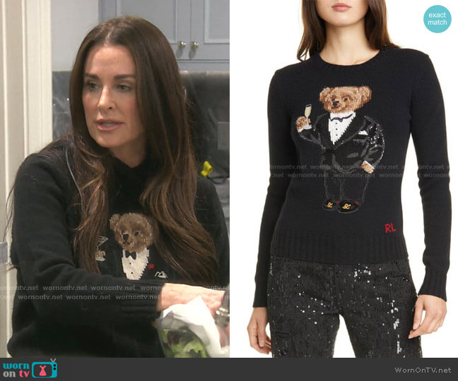 Tux Bear Crewneck Sweater by Polo Ralph Lauren worn by Kyle Richards  on The Real Housewives of Beverly Hills