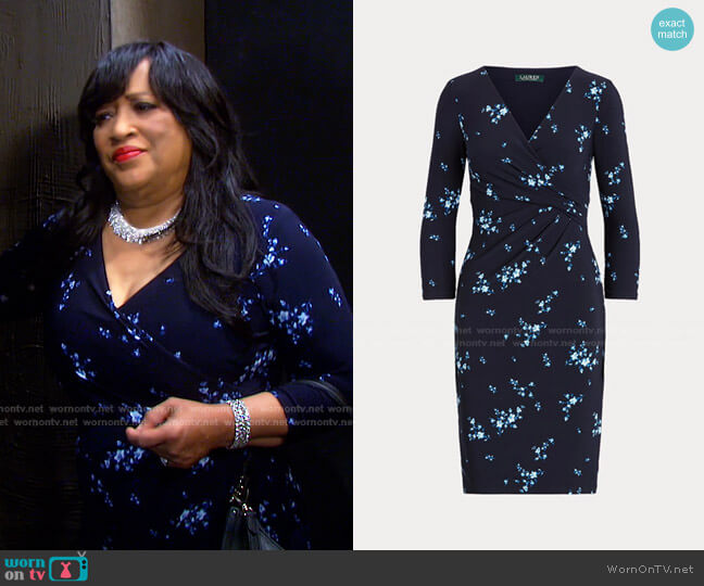 Floral Wrap-Style Jersey Dress by Ralph Lauren worn by Paulina Price (Jackée Harry) on Days of our Lives