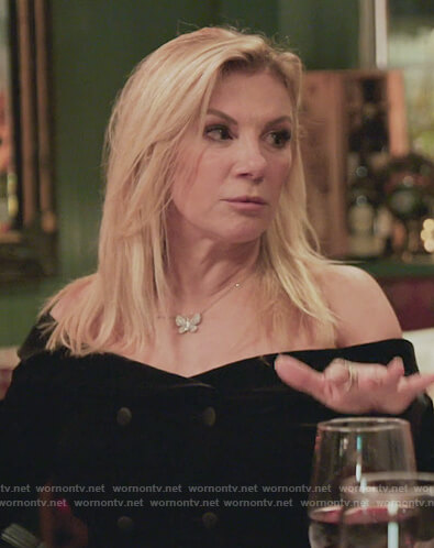 Sonja's leopard print off shoulder top on The Real Housewives of New York City