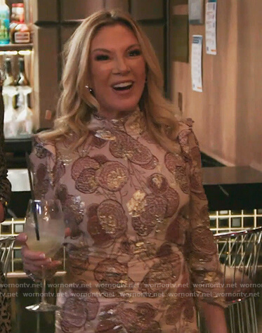 Ramona's pink metallic floral dress on The Real Housewives of New York City