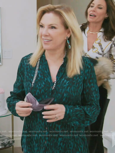 Ramona's green leopard print blouse on The Real Housewives of New York City