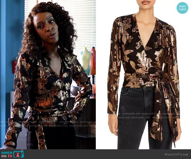 Ramy Brook Blair Top worn by Karen Mott (Ebony Obsidian) on Tyler Perrys Sistas