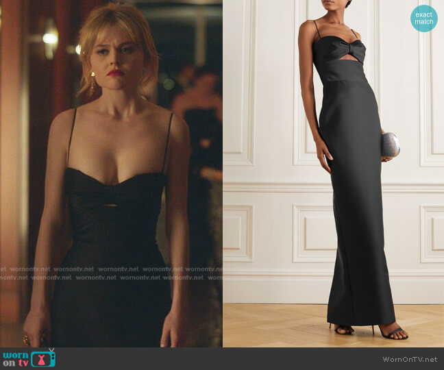 Cutout Duchesse-Satin Gown by Rasario worn by Audrey Hope (Emily Alyn Lind) on Gossip Girl