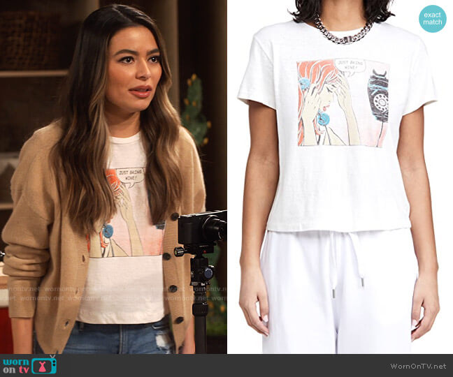 Re/Done Classic Tee Just Send Wine worn by Carly Shay (Miranda Cosgrove) on iCarly